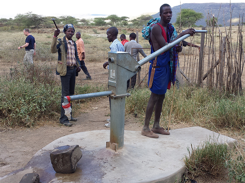Ewauso well hand pump used by Maasai community